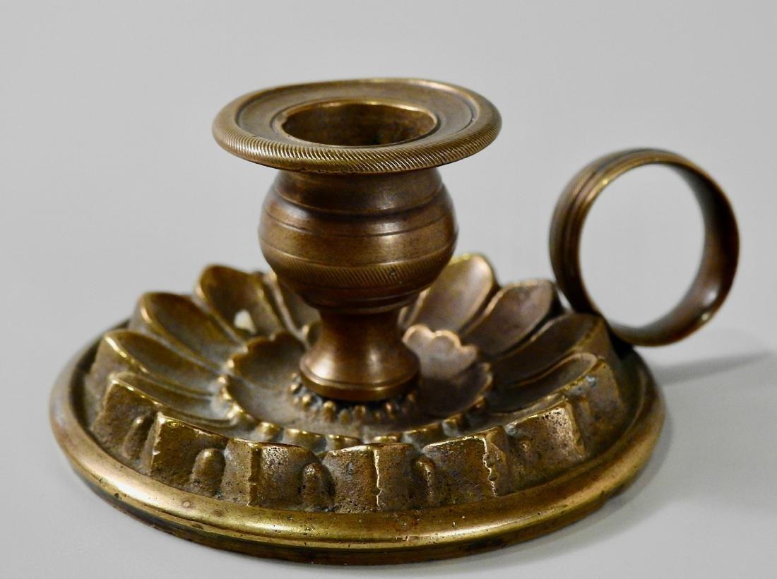Antique c 1820 Bronze Candleholder Chamberstick