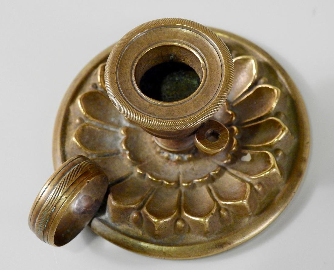 Antique c 1820 Bronze Candleholder Chamberstick - 4