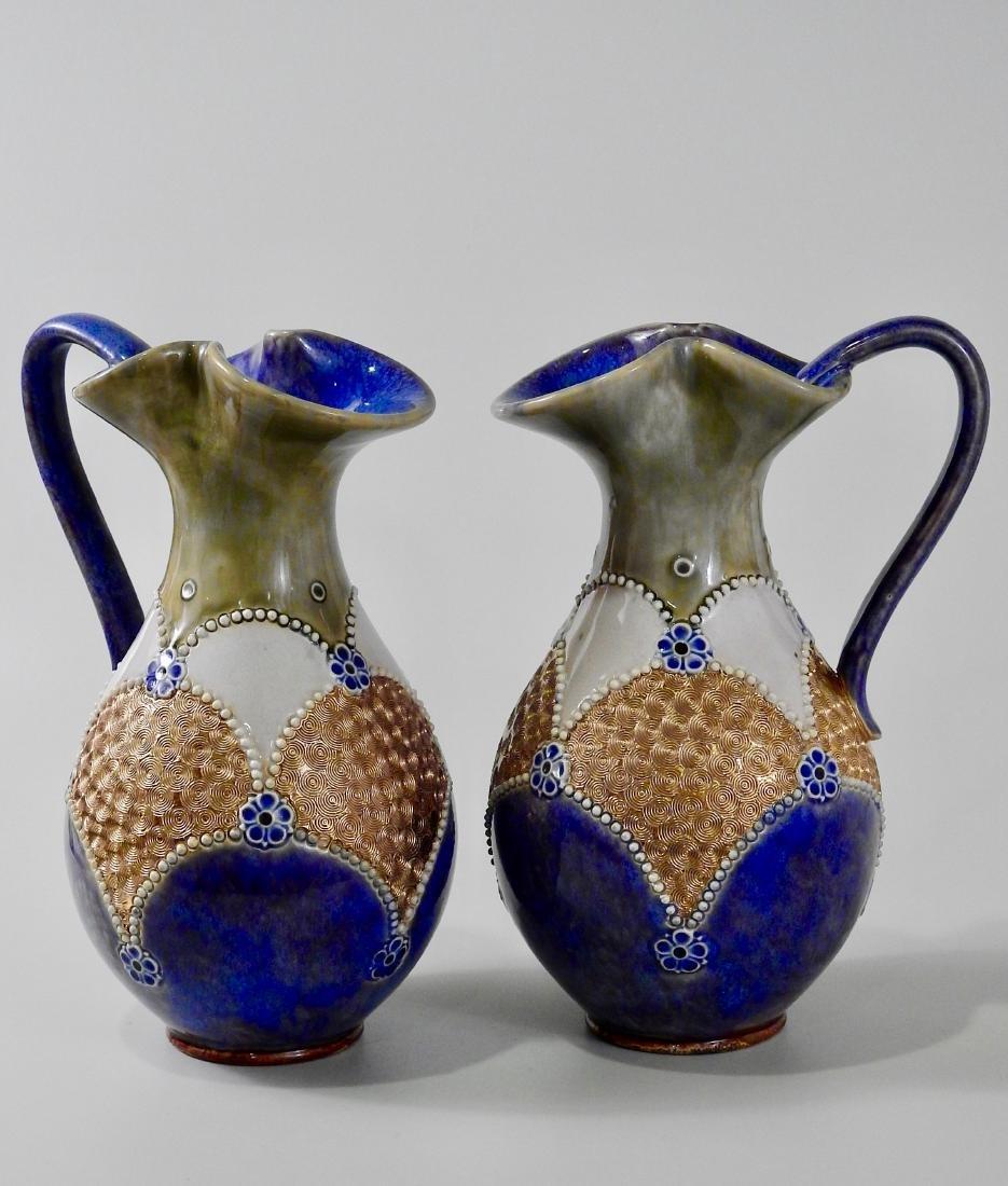 Pair Antique Royal Doulton Ewers Stoneware Urn Vase