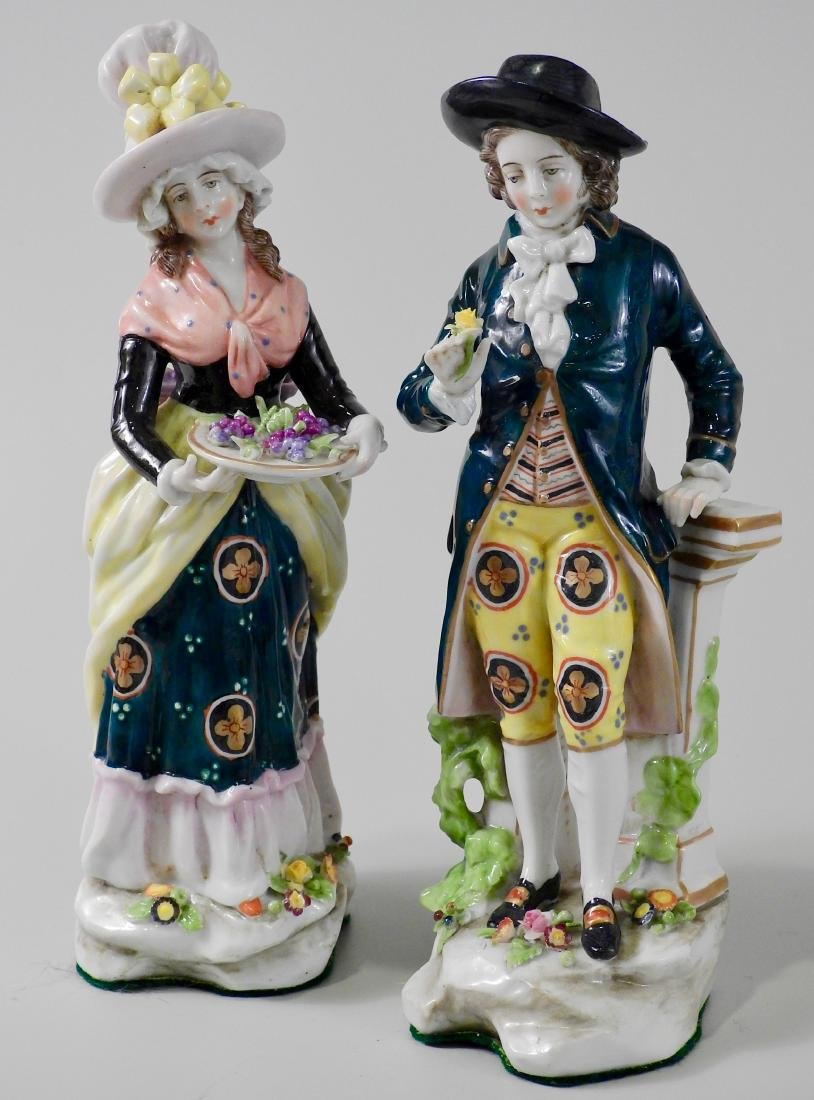 Pair Antique c1765 Chelsea Derby Period Porcelain