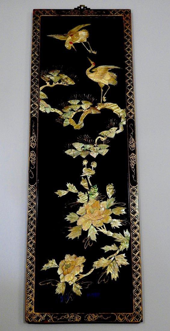 Vintage Oriental Crane Mother of Pearl Carved Panel Wal