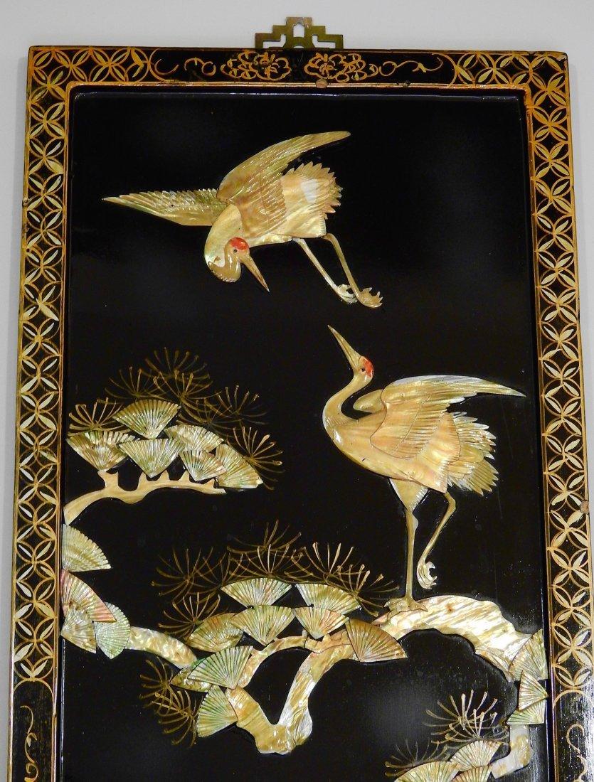 Vintage Oriental Crane Mother of Pearl Carved Panel Wal - 2