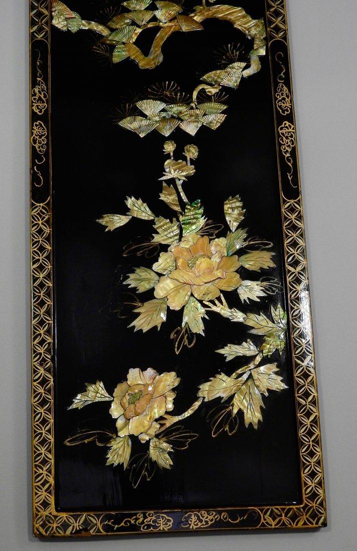 Vintage Oriental Crane Mother of Pearl Carved Panel Wal - 3