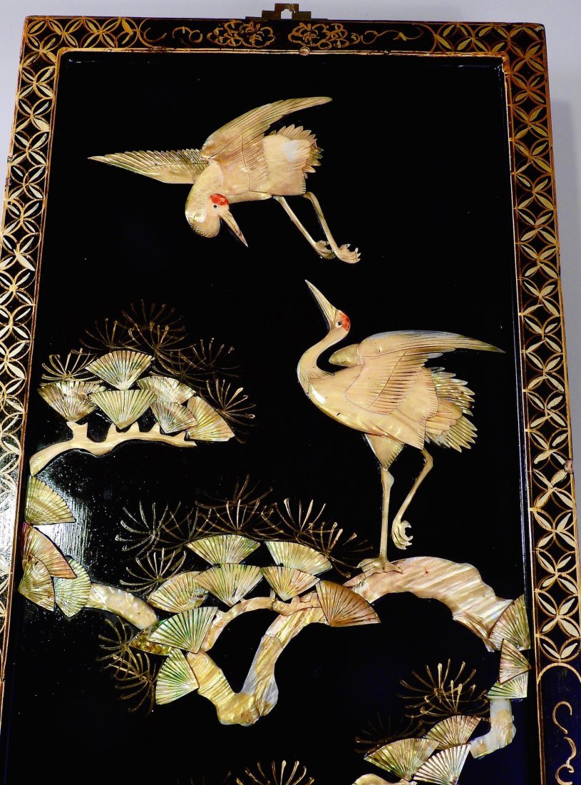 Vintage Oriental Crane Mother of Pearl Carved Panel Wal - 5
