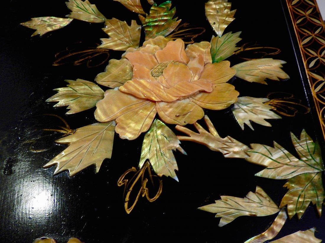 Vintage Oriental Crane Mother of Pearl Carved Panel Wal - 7