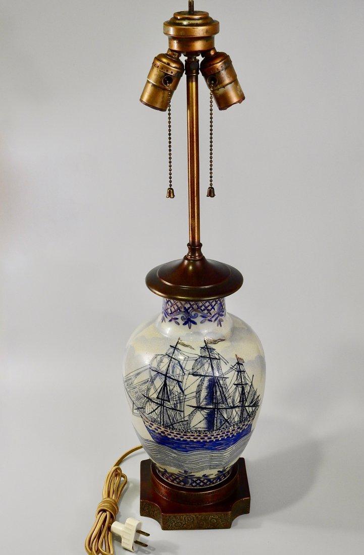 Vintage Maritime Table Lamp Cobalt Painted Sailing Ship