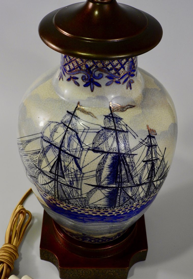 Vintage Maritime Table Lamp Cobalt Painted Sailing Ship - 3