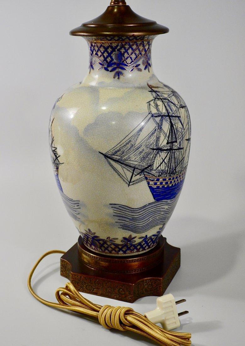 Vintage Maritime Table Lamp Cobalt Painted Sailing Ship - 4