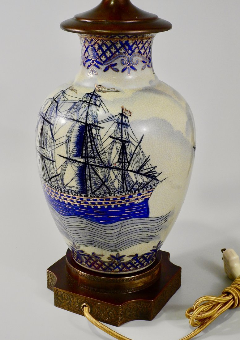 Vintage Maritime Table Lamp Cobalt Painted Sailing Ship - 5