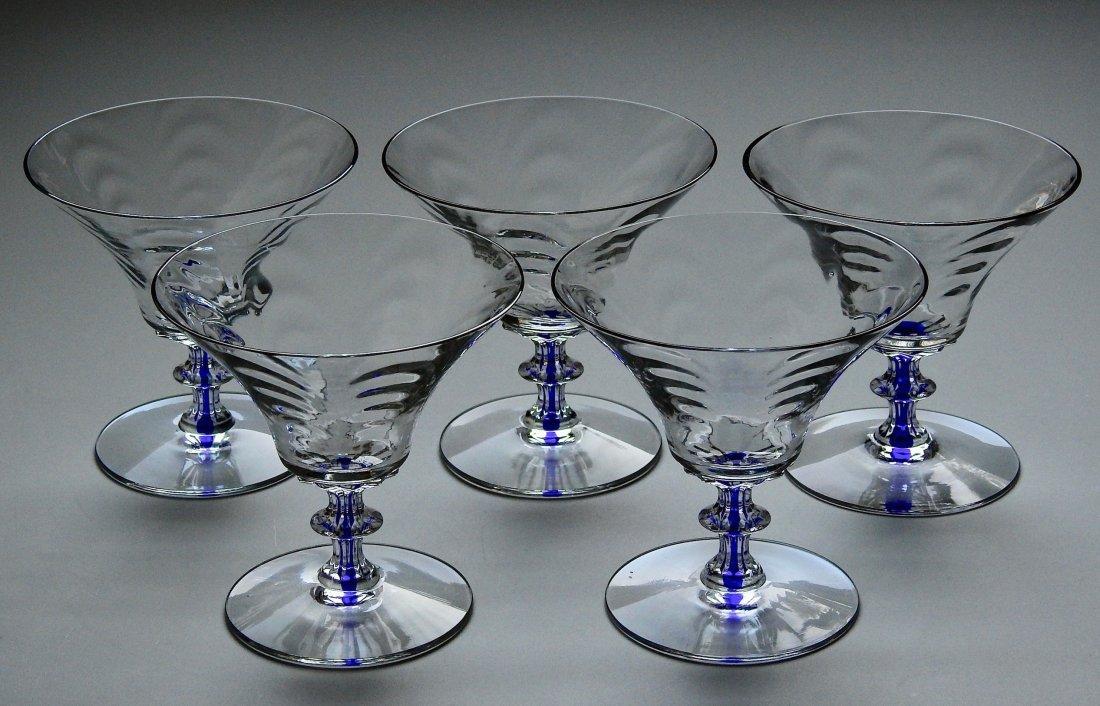 Art Deco Draped Glass Cobalt Stem Cocktail Glasses Lot