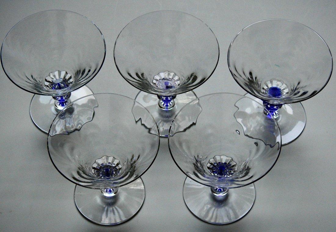 Art Deco Draped Glass Cobalt Stem Cocktail Glasses Lot - 2