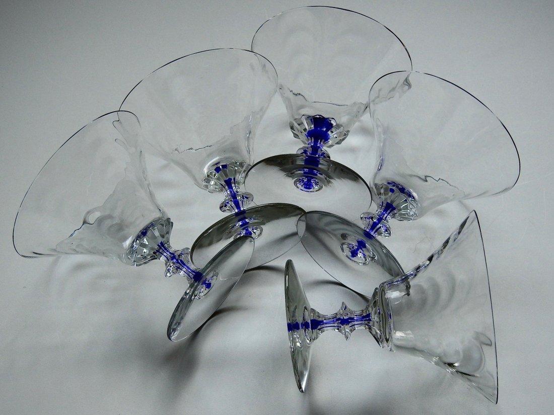 Art Deco Draped Glass Cobalt Stem Cocktail Glasses Lot - 3