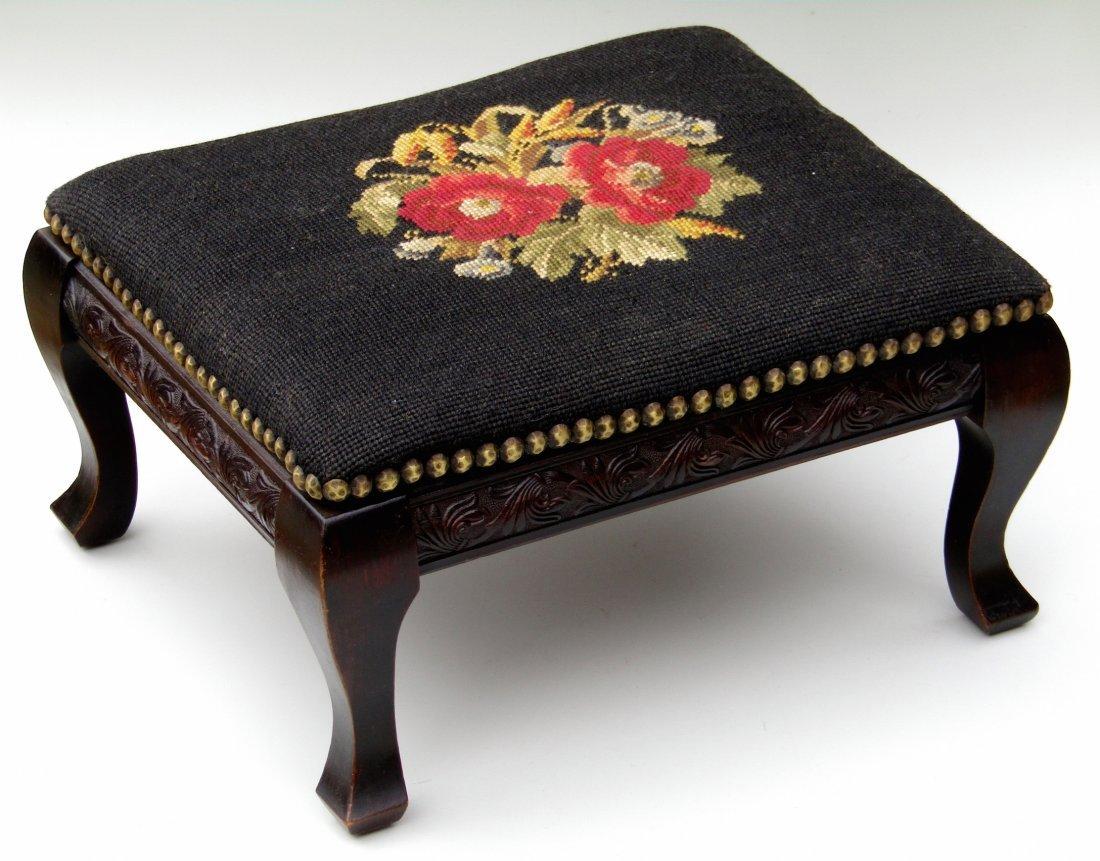 Edwardian Vintage Needlepoint Footstool All Original - 2