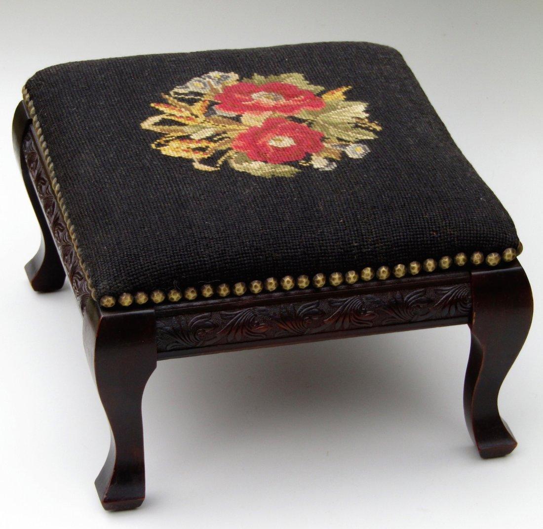 Edwardian Vintage Needlepoint Footstool All Original - 3