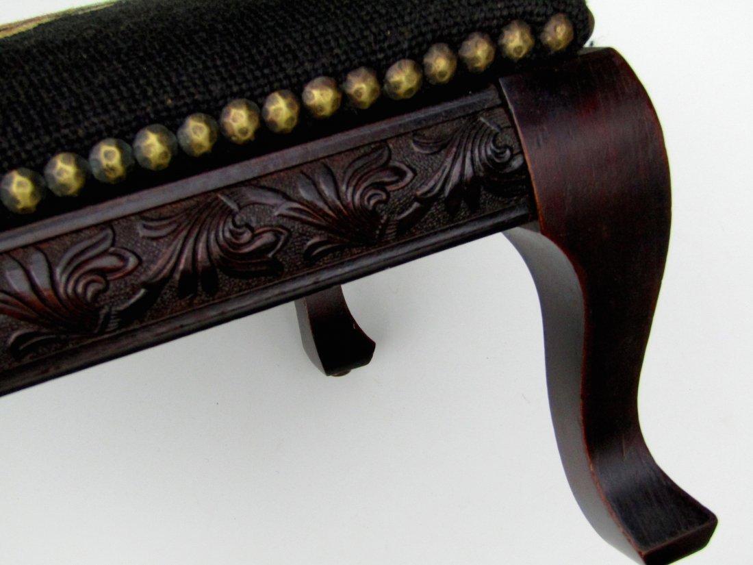 Edwardian Vintage Needlepoint Footstool All Original - 6