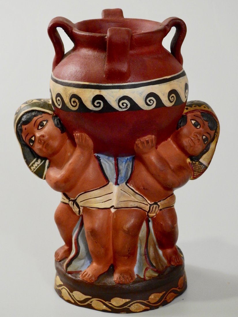 Vintage Art Craft Period Pottery Painted Terracotta Nat