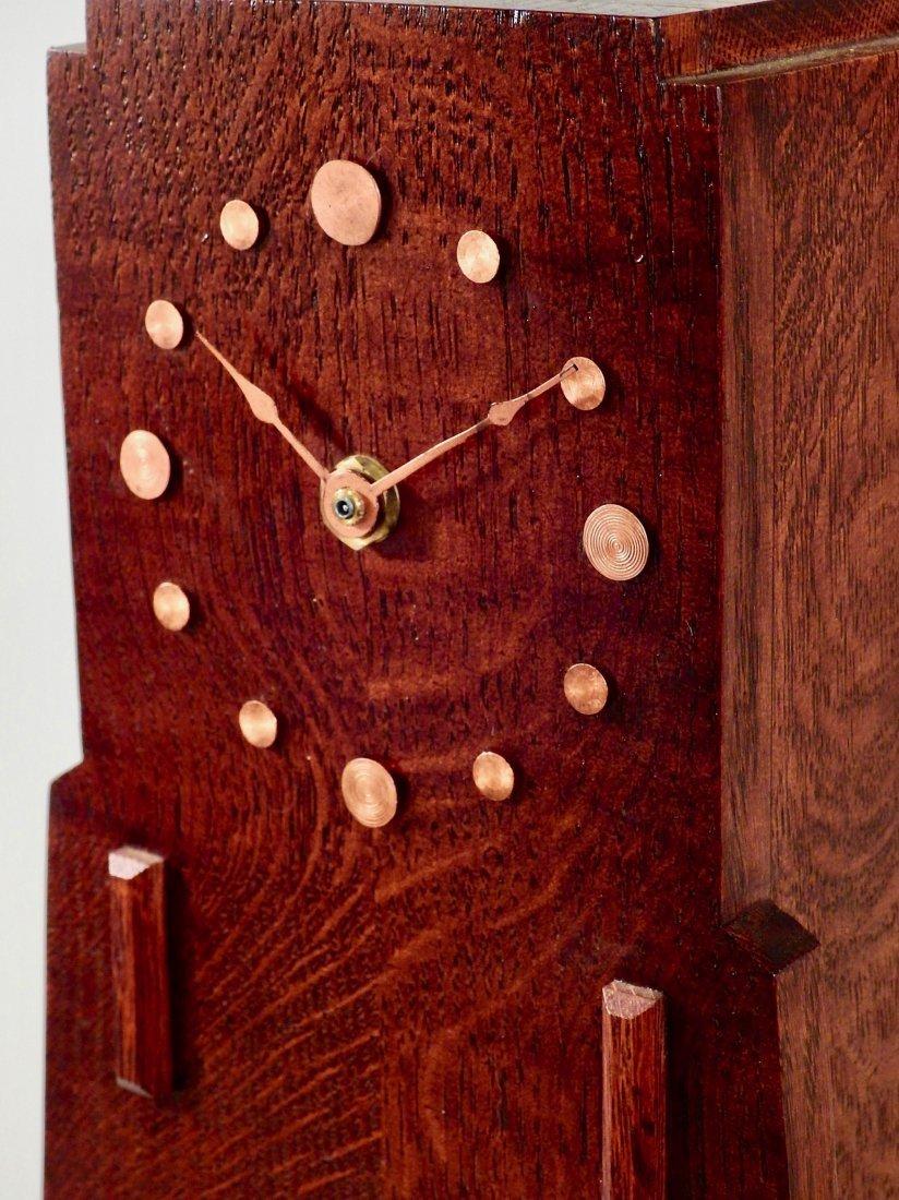 Art Craft Style Oak Desk Clock Copper Fittings Slate Gl