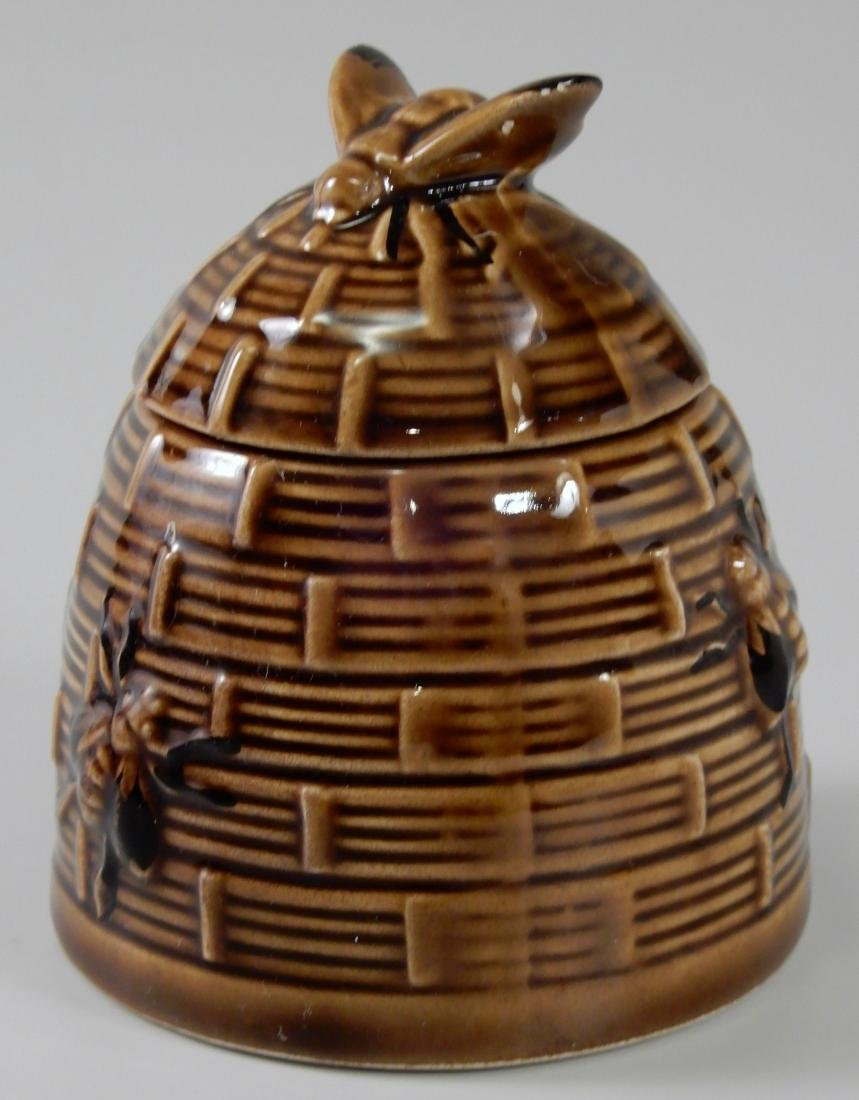 Bumble Bee Brown Glazed Beehive Lidded Honey Pot Jar