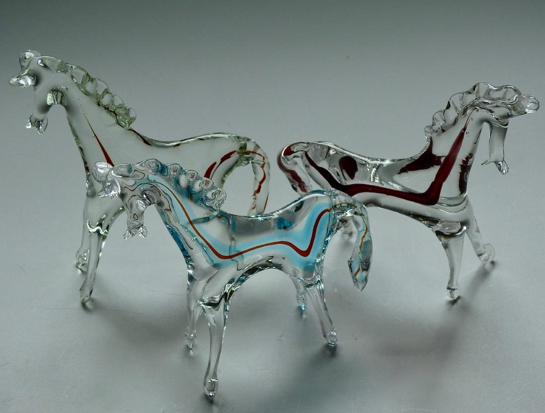 Art Glass Horse Figurine Lot of 3 Figurines