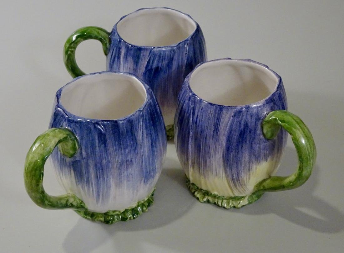 Italian Ceramic Hand Painted Flower Mug Lot of 3 Blue