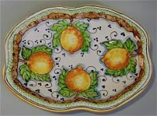 Italian Sicilian Majolica Pottery Limoni Hand Painted