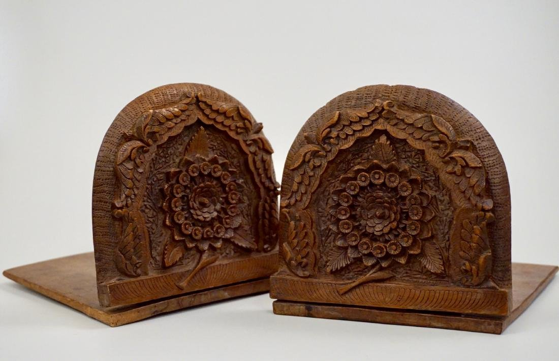 Anglo Indian Colonial Carved Teak Wood Bookend Pair