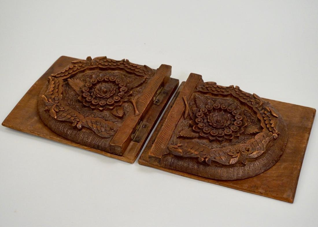 Anglo Indian Colonial Carved Teak Wood Bookend Pair - 6