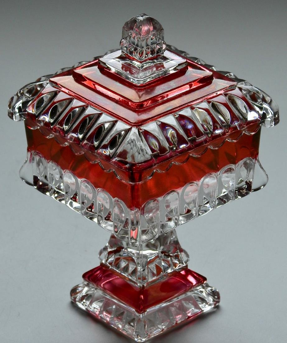 Victorian Wedding Cake Serving Dish Westmoreland Ruby - 2
