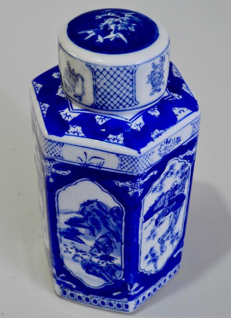 Oriental Style Flow Blue Tea Caddy Kitchen Jar Lidded - 2