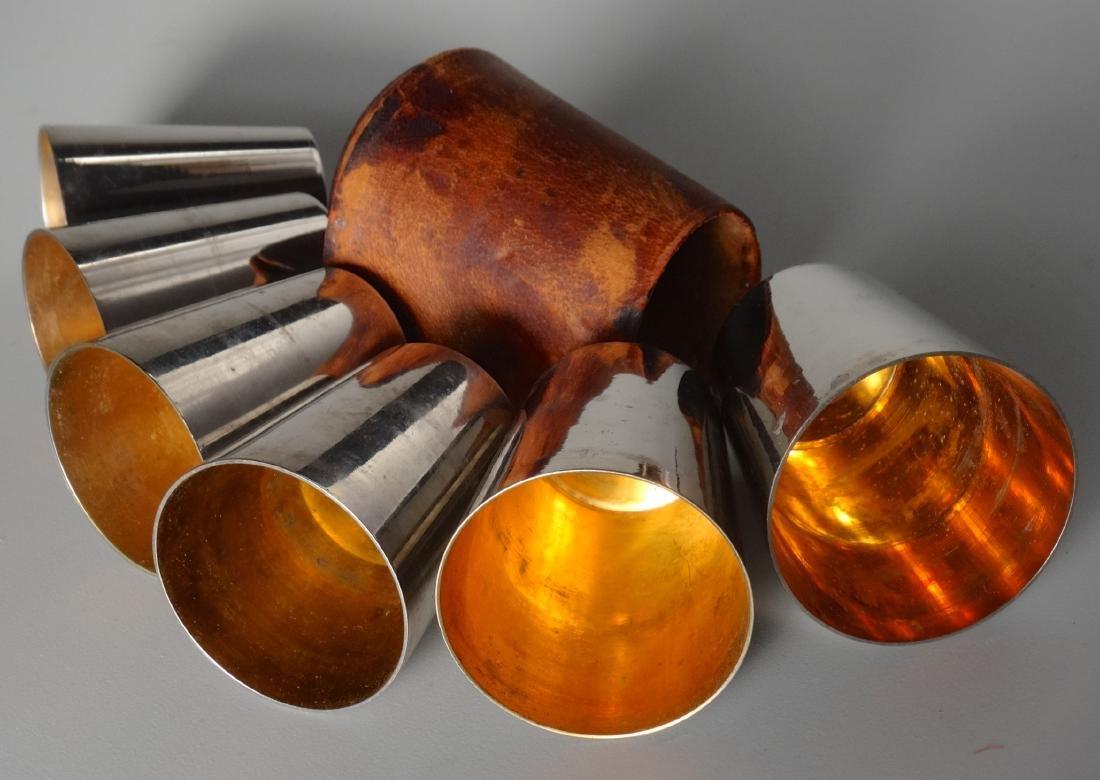German Gilded Nested Shot Glass Graduated Set Leather