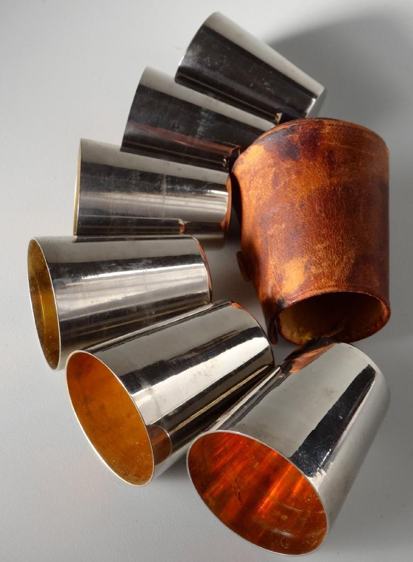 German Gilded Nested Shot Glass Graduated Set Leather - 2