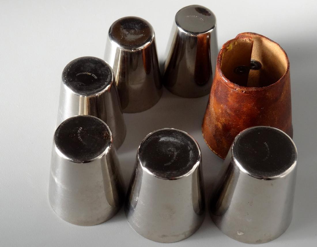 German Gilded Nested Shot Glass Graduated Set Leather - 3