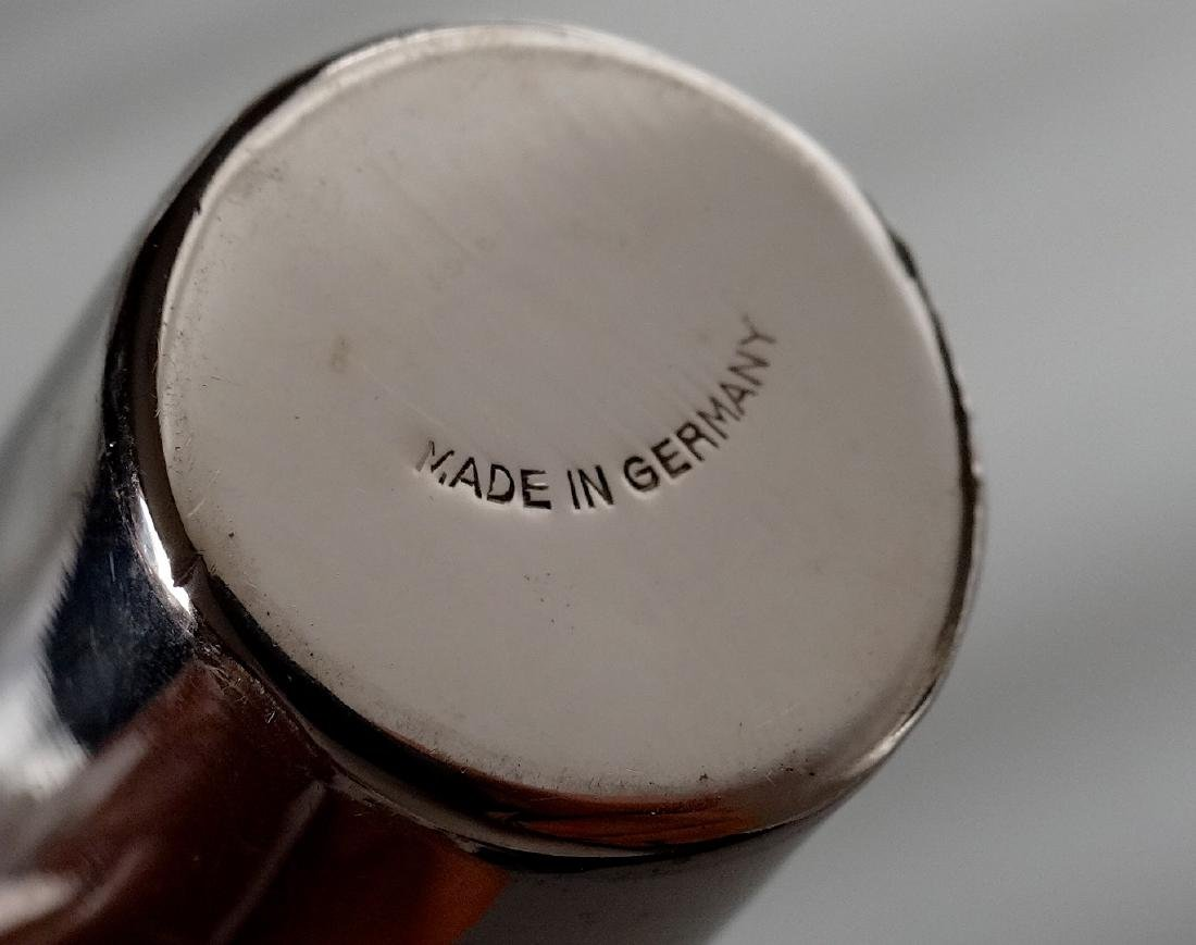 German Gilded Nested Shot Glass Graduated Set Leather - 4