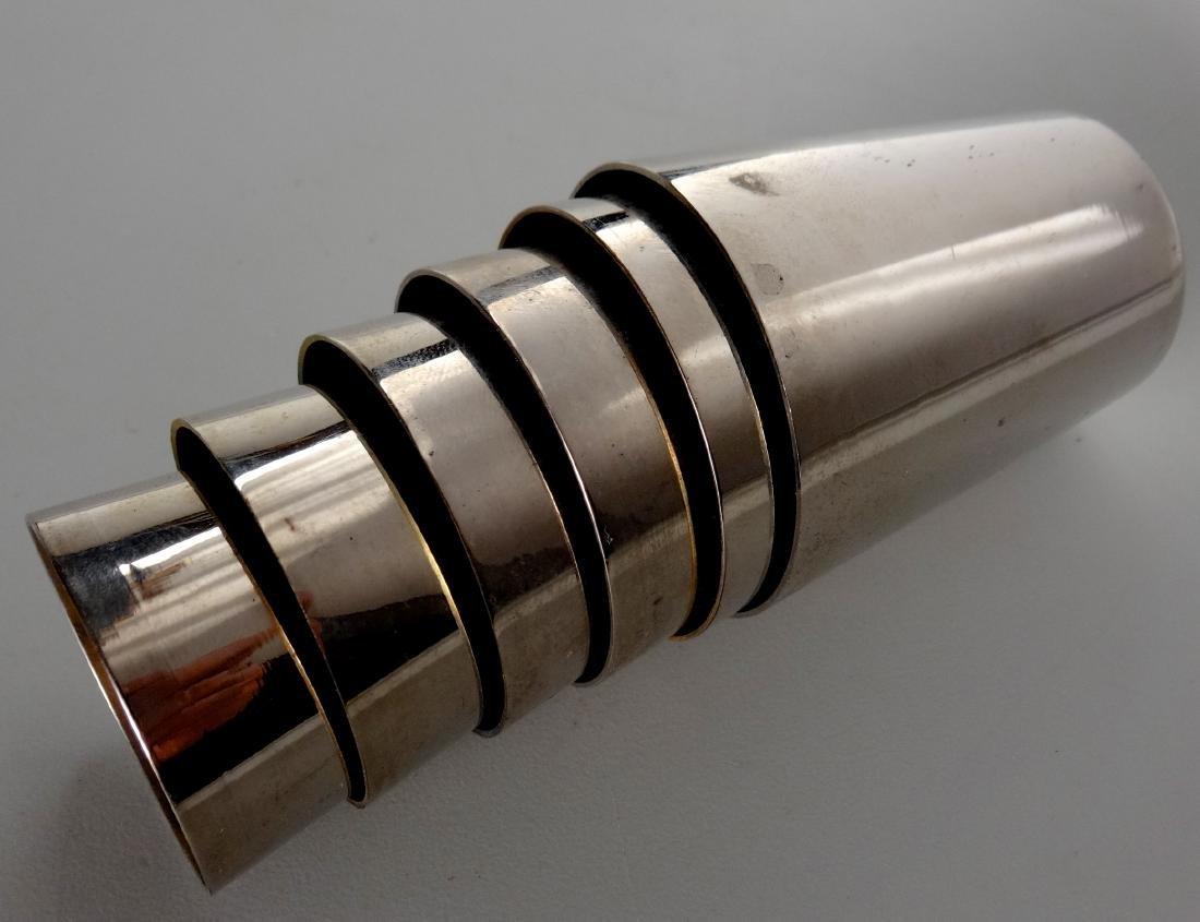 German Gilded Nested Shot Glass Graduated Set Leather - 5