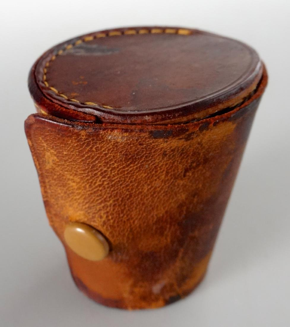 German Gilded Nested Shot Glass Graduated Set Leather - 7