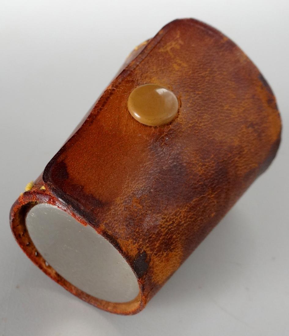 German Gilded Nested Shot Glass Graduated Set Leather - 8