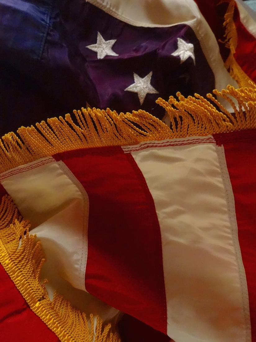Vintage American Flag USA with Fringe and Tassels Never - 7