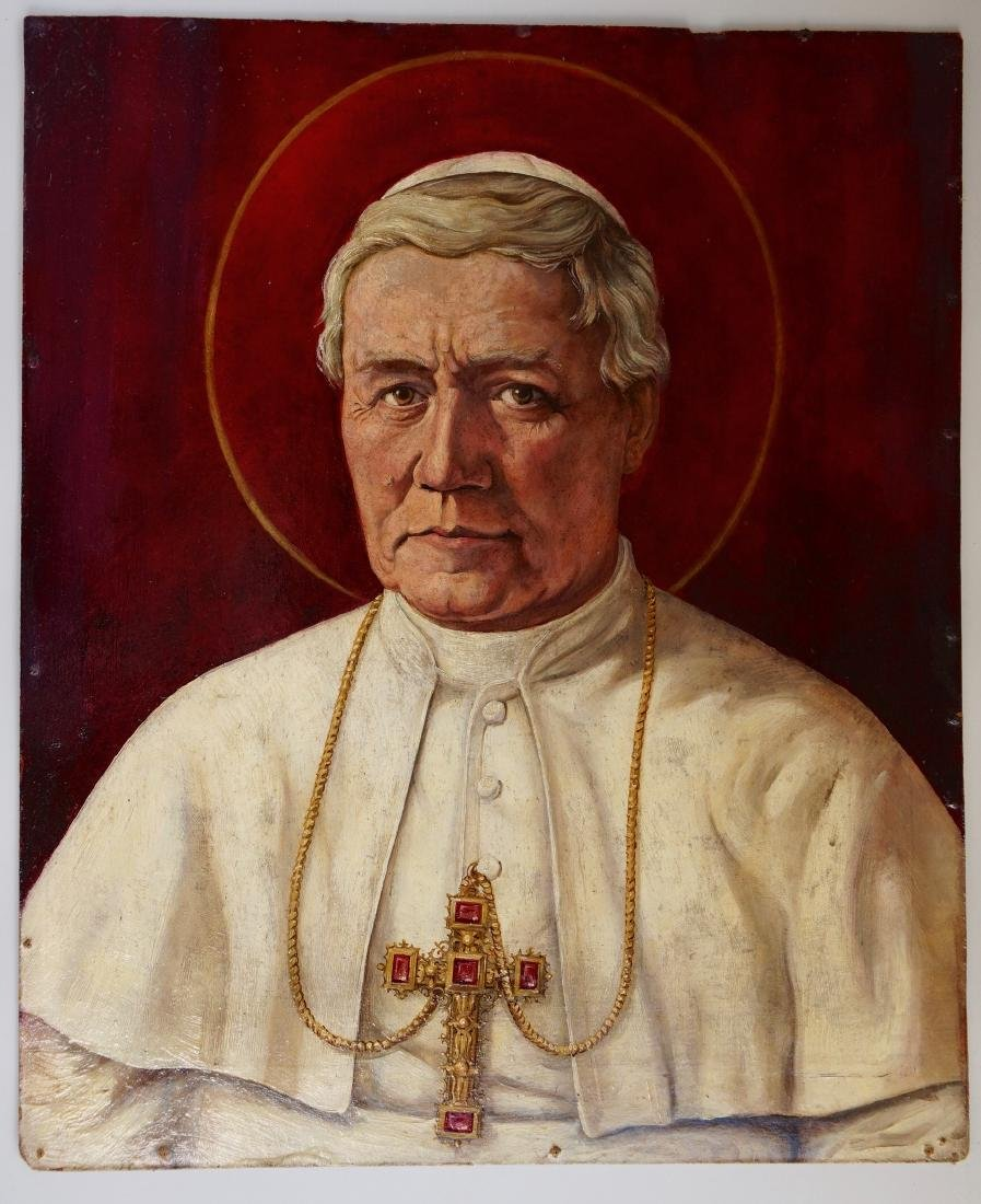 Pope Saint Pius X Vintage Oil on Board Portrait