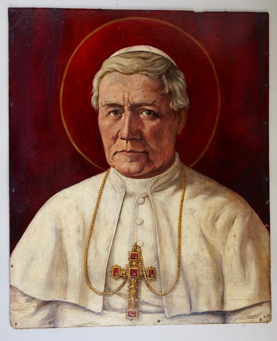 Pope Saint Pius X Vintage Oil on Board Portrait - 2