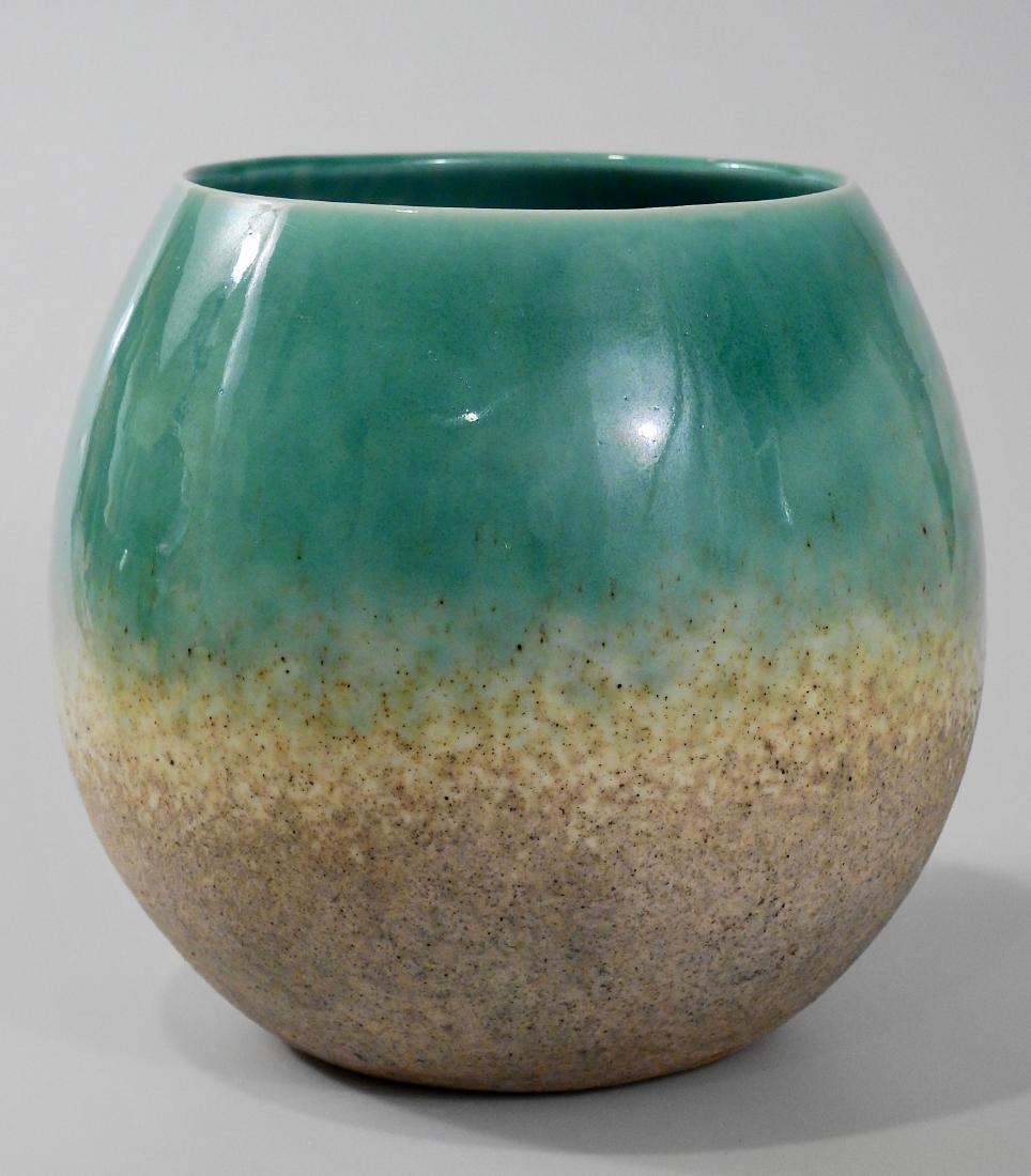 Mid Century Turquoise Glazed Art Pottery Bowl Vase