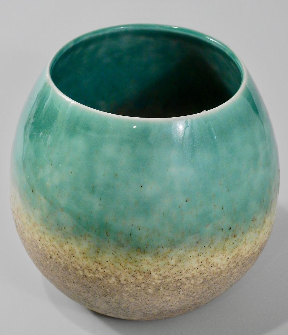 Mid Century Turquoise Glazed Art Pottery Bowl Vase - 2