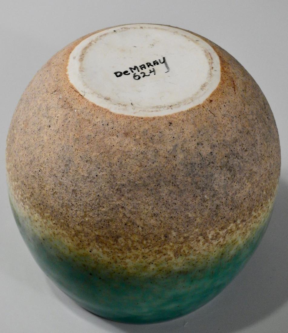 Mid Century Turquoise Glazed Art Pottery Bowl Vase - 4