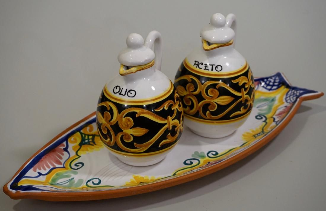 Italian Ceramic Fish Tray Oil Vinegar Bottle Set