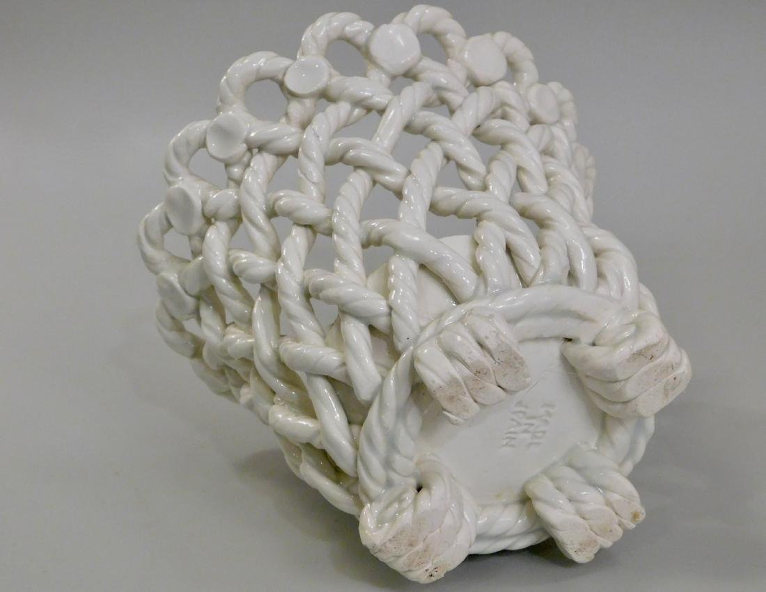 Italian Blanc De Chine Ceramic Woven Planter Cachepot - 3
