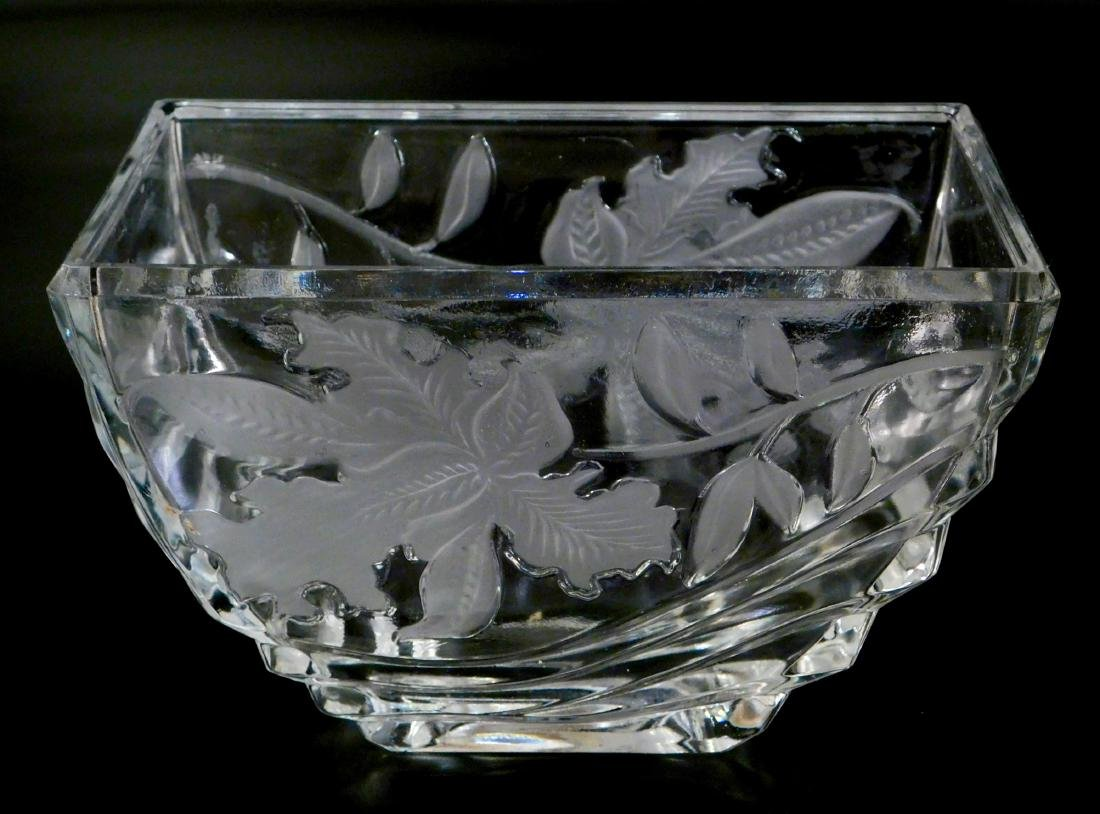 Art Deco Irises Glass Vase Rectangular Bowl
