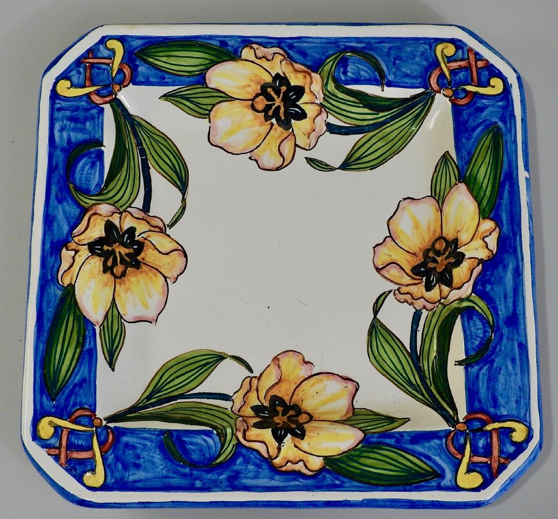 Italian Ceramic Exotic Flowers Painted Square Plaque