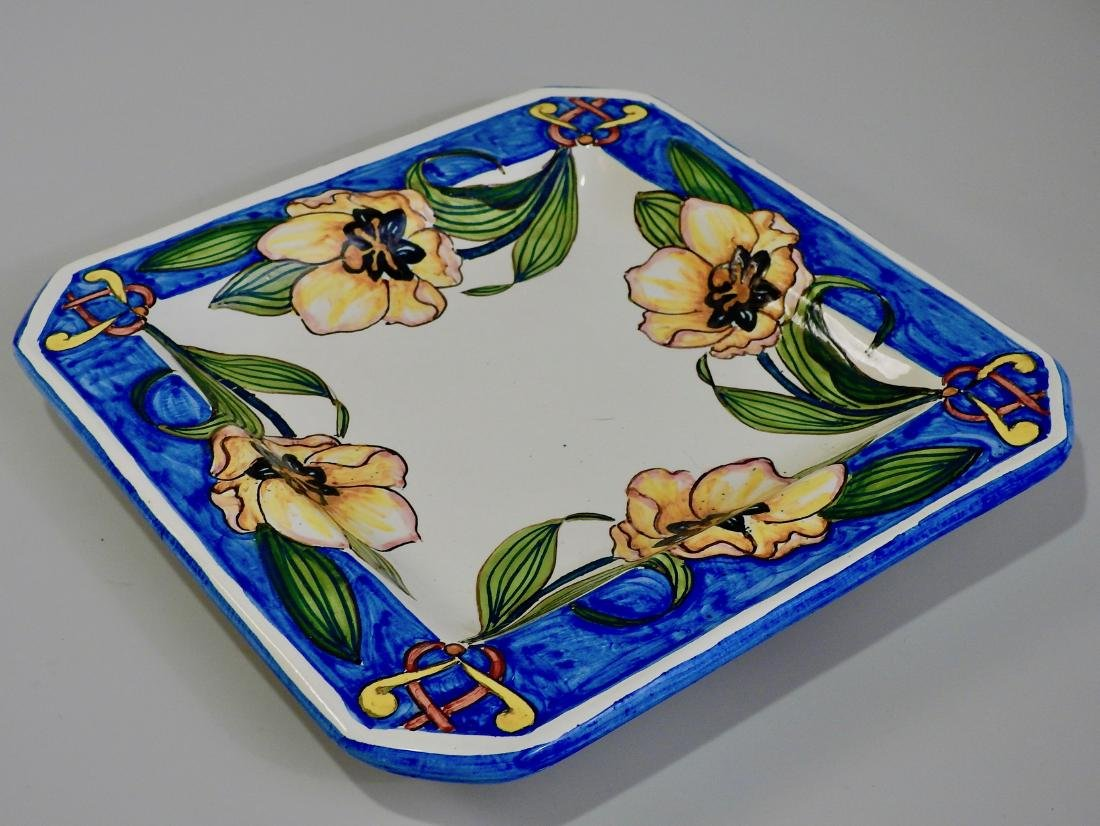 Italian Ceramic Exotic Flowers Painted Square Plaque - 2