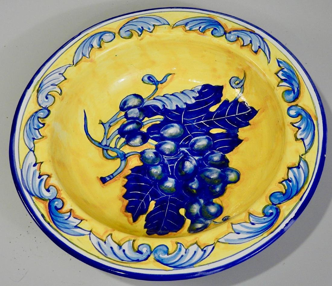 Blue Italian Amalfi Coast Grapes Yellow Ceramic Plaque