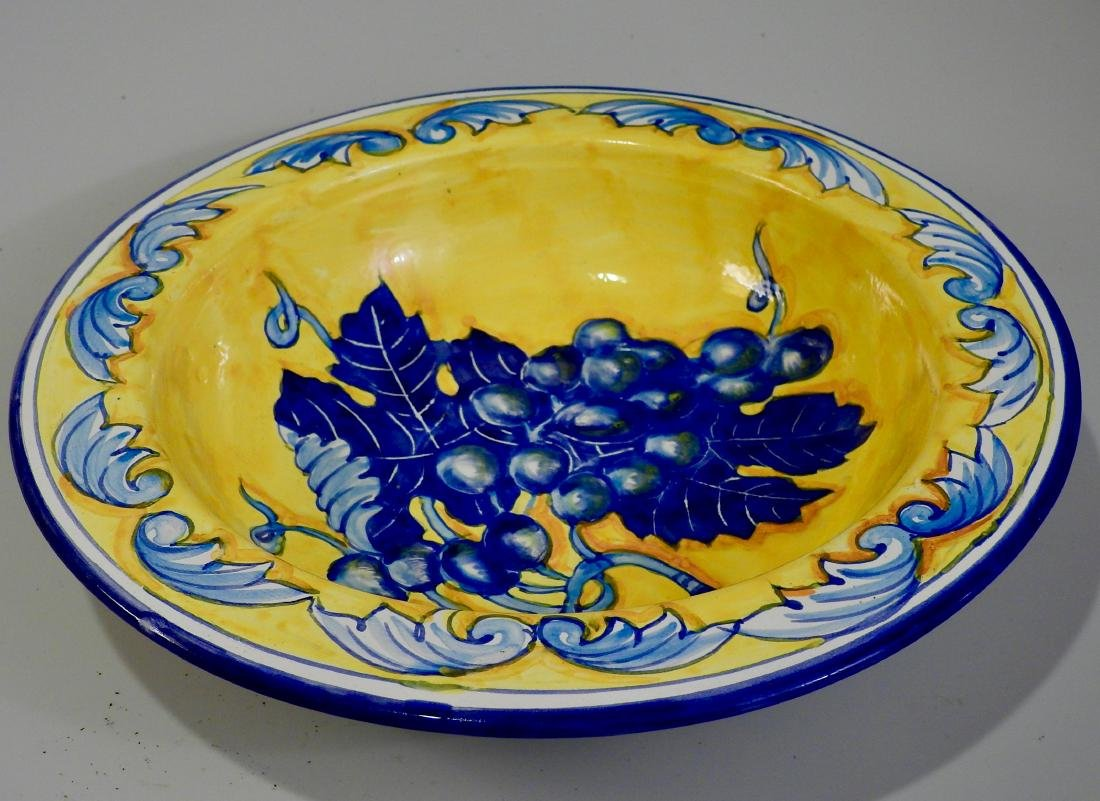Blue Italian Amalfi Coast Grapes Yellow Ceramic Plaque - 2