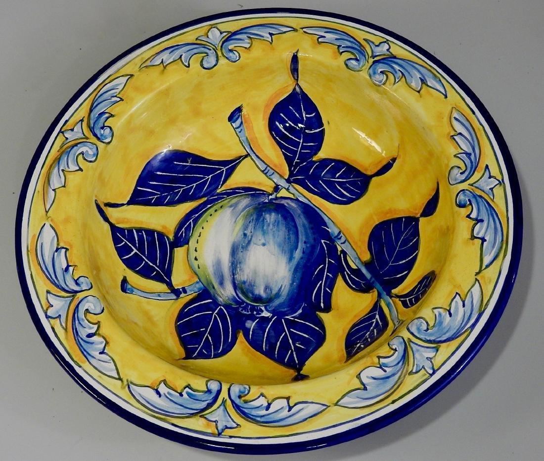 Mediterranean Majolica Pottery Blue Apple Italian Hand